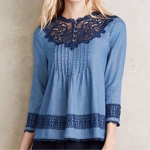Anthro Holding Horses laced Chambray Top Eyelet 6